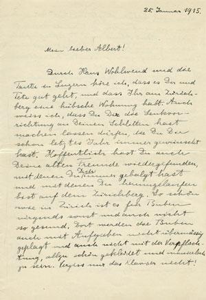 نامه اینشتین به پسرش آلبرت در سال 1915