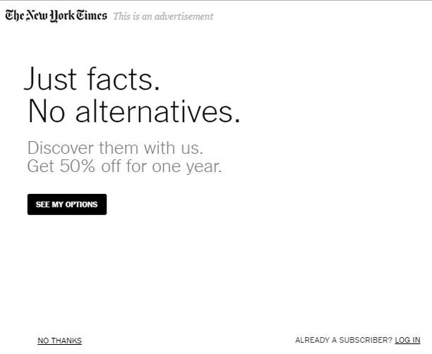 Just Facts No Alternatives - تبلیغ خلاقانه نیویورک تایمز
