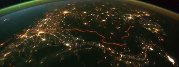 عکس مرز هند و پاکستان در شب از آسمان